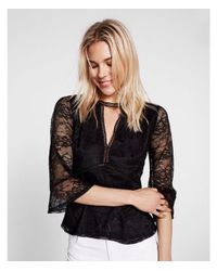 Express - Black Lace Keyhole Cut-out Bell Sleeve Tee - Lyst