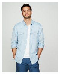 Express Blue Slim Solid Linen-blend Shirt for men