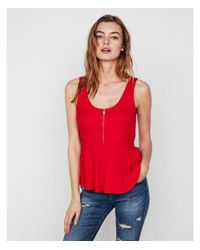 Express - Red One Eleven Zip Front Peplum Tank - Lyst