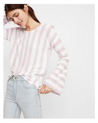 Express - Purple Striped Scoop Back Flare Sleeve Sweater - Lyst