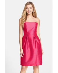 Alfred Sung | Pink Strapless Dupioni Dress | Lyst