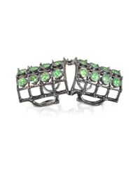 Bernard Delettrez - Multicolor Articulated Cage And Studs Ring W/tsavorites - Lyst