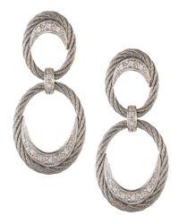 Alor - Metallic Diamond Pave Cable Oval-hoop Earrings - Lyst