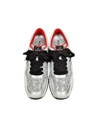 Hogan - Metallic Club Silver Leather And Glitter Wedge Sneakers - Lyst
