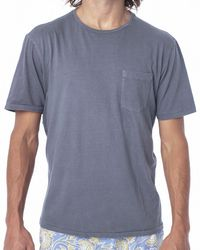 Faherty Brand Blue Organic Cotton Pocket Tee- Weathered Navy for men