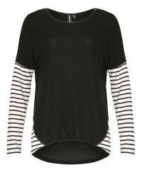 Izabel London | Black Knit Top With Horizontal Stripe Panels | Lyst