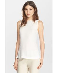 Theory | White 'Yinga' High Low Silk Top | Lyst
