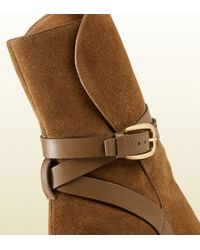 Gucci - Brown Suede Ankle Boot - Lyst