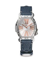 Fendi - Blue Stainless Steel Leather Rectangular Watch - Lyst
