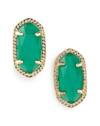 Kendra Scott | Green 'ellie' Oval Stone Stud Earrings | Lyst