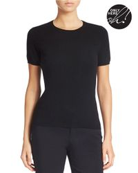 Lord & Taylor | Black Petite Short-sleeve Cashmere Sweater | Lyst