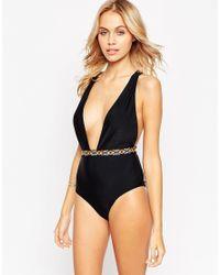 ASOS | Black Ikat Elastic Trim Plunge Swimsuit | Lyst