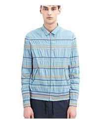 Kolor - Blue Striped Light Blouson Jacket for Men - Lyst