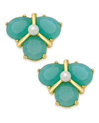 kate spade new york | Green Gold-tone Color Stone And Imitation Pearl Cluster Stud Earrings | Lyst