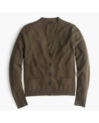 J.Crew - Brown Italian Cashmere Short Cardigan Sweater - Lyst