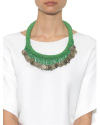 Muzungu Sisters | Green Beaded Coin Necklace | Lyst