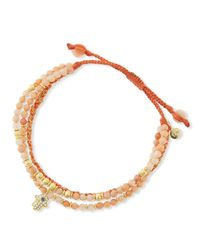 Tai | Pink 3-strand Agate Beaded Bracelet With Evil Eye Charm | Lyst