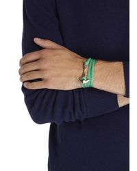 Miansai - Green Double Wrap Leather Anchor Bracelet for Men - Lyst