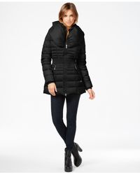 Laundry by Shelli Segal | Black Pillow-collar Smocked Down Puffer Coat | Lyst