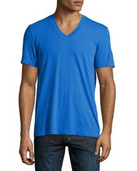 James Perse - Blue V-Neck Cotton T-Shirt for Men - Lyst