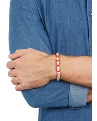 Nialaya - Red Skull-embellished Woven Bracelet for Men - Lyst