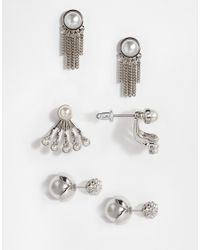 Lipsy | Metallic Pearl & Chain Multipack Earrings | Lyst