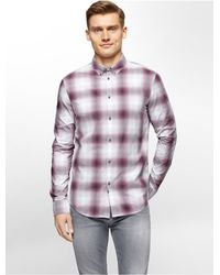 Calvin Klein | Purple Jeans Slim Fit Ombre Check Shirt for Men | Lyst