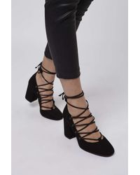 TOPSHOP - Black Gold Round Toe Ghillie Shoes - Lyst
