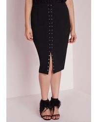 Missguided | Plus Size Lace Up Midi Skirt Black | Lyst