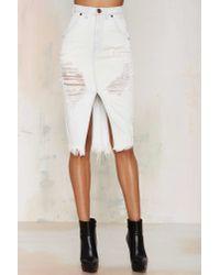 One Teaspoon | White Cadillac Distressed Denim Skirt | Lyst