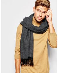 ASOS - Gray Blanket Scarf In Charcoal for Men - Lyst