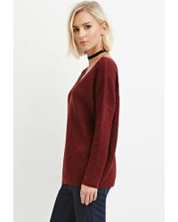Forever 21 | Brown V-neck Cutout Sweater | Lyst