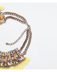 Zara | Orange Diamante and Cord Necklace | Lyst