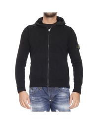 Stone Island | Black Logo Patch Hooded Wool Jacket for Men | Lyst