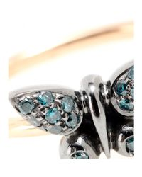 Roberto Marroni - Metallic 18kt Gold Butterfly Ring With Blue Diamonds - Lyst