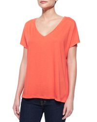 Neiman Marcus - Black V-neck Cotton High-low Tee - Lyst