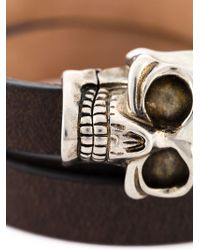 Alexander McQueen | Gray Skull Wrap Around Bracelet for Men | Lyst
