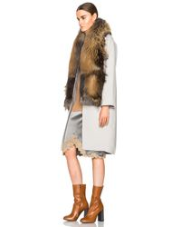 Sally Lapointe | Brown Double Splittable Wool Cocoon Coat With Fur Collar | Lyst