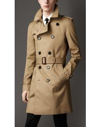 Burberry | Natural Mid-Length Technical Cotton Trench Coat for Men | Lyst