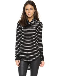 Free People | Black Drippy Striped Jersey Top | Lyst