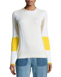 Belstaff - Yellow Colorblock Ribbed Moto Sweater - Lyst