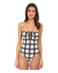 Proenza Schouler | Black Grid Print One-Piece Bandeau Swimsuit | Lyst