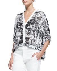 Helmut Lang - Black Printed Lightweight Cropped Blouse - Lyst