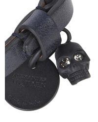 Alexander McQueen | Blue Navy Skull Embellished Leather Bracelet for Men | Lyst