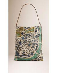 Burberry - Blue London Map-Print Cotton Shoulder Bag - Lyst