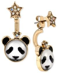 Betsey Johnson | Metallic Gold-tone Panda And Star Mismatch Front And Back Earrings | Lyst