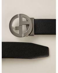 Giorgio Armani | Black Logo Plaque Belt for Men | Lyst