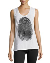 Norma Kamali - White Fingerprint Sleeveless T-shirt - Lyst