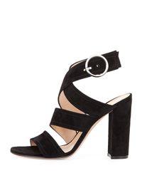 Gianvito Rossi - Black Suede Crisscross Block-heel Sandal - Lyst