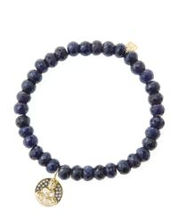 Sydney Evan | Blue 6Mm Faceted Sapphire Beaded Bracelet With 14K Gold/Diamond Sitting Buddha Charm (Made To Order) | Lyst
